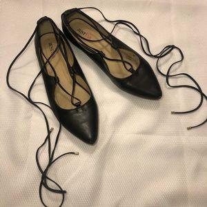 JustFab Carley Lace Up Black Flats